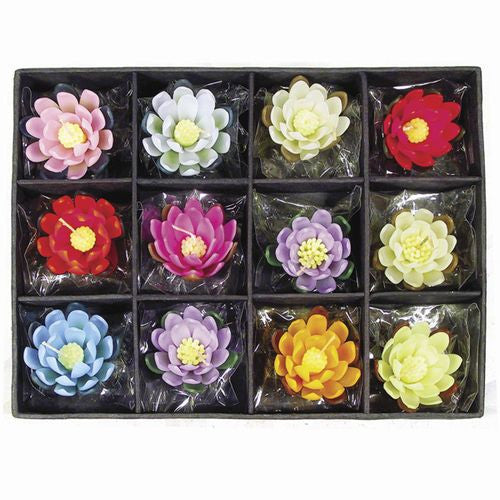 "FLOATING LOTUS CANDLES MULTI-COLOR 3""d"