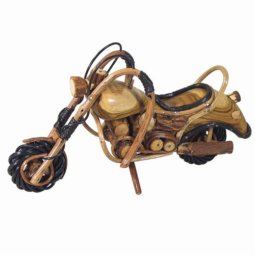 "Wooden Motorcycle Figurine 6"" H x 4"" W x 12"" L"