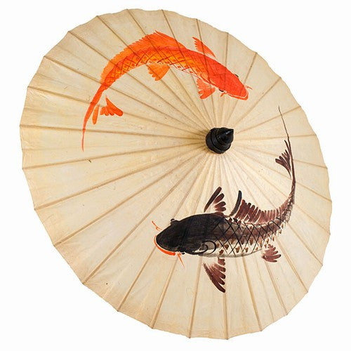 "KOI NATURAL PAPER PARASOL HAND PAINTED 33""dia"