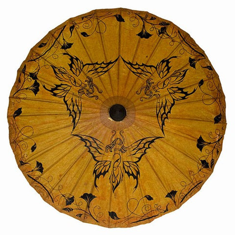 "Hand Painted Paper Sun Parasols 34"" (Butterfly Lotus)"