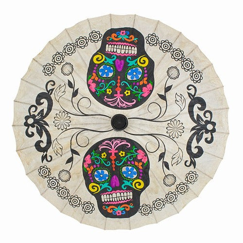 "SUGAR SKULL PARASOL HAND PAINTED COLORS 33"" Dia"