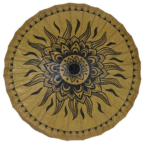 "Hand Painted Paper Sun Parasol 34""(Tribal Sun)"