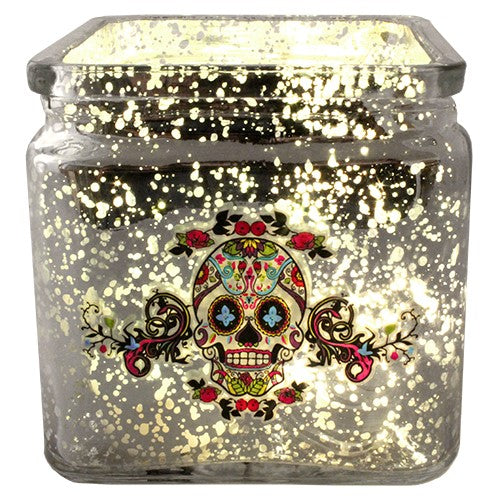 "SUGAR SKULL CANDLE HOLDER SILVER MERCURY GLASS 3.875x3.875""H"