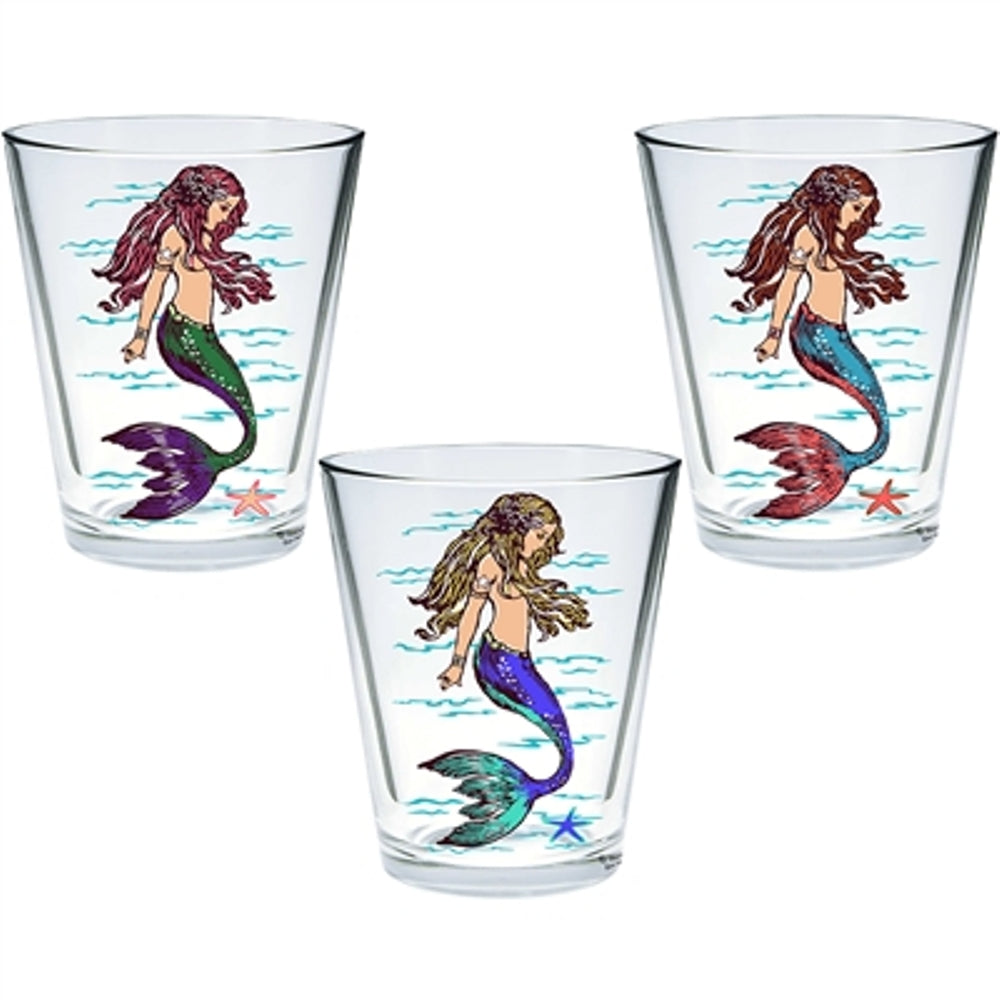 "Set of 3 Decorative shot glasses with 3 variation images Product Dimensions: 1.3125Dia x2.375""H (Mermaids)"