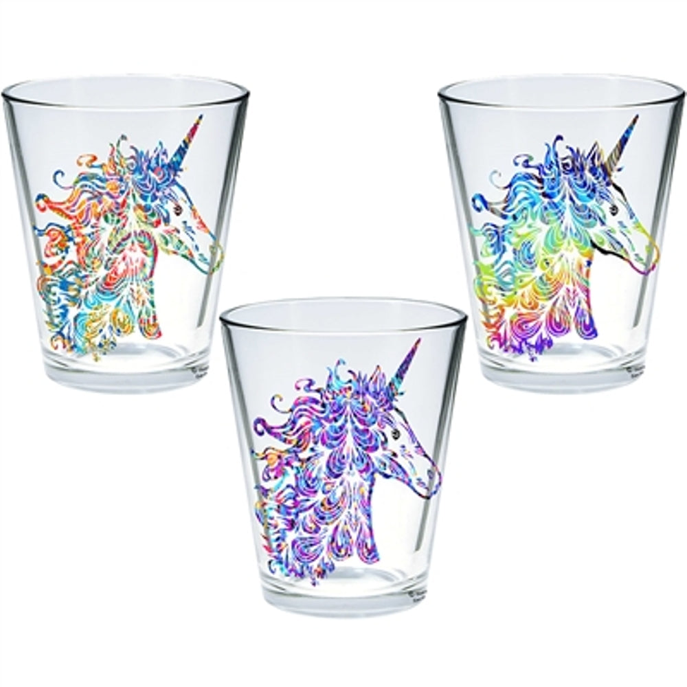 "Set of 3 Decorative shot glasses with 3 variation images Product Dimensions: 1.3125Dia x2.375""H (Unicorns)"