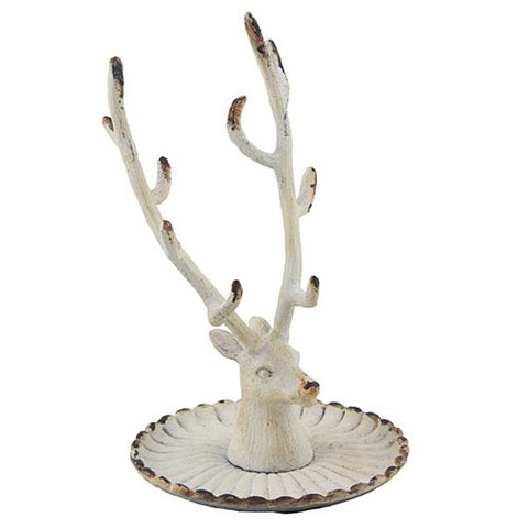 "VINTAGE DEER JEWELRY HOLDER 3.375x5.375""H (White)"