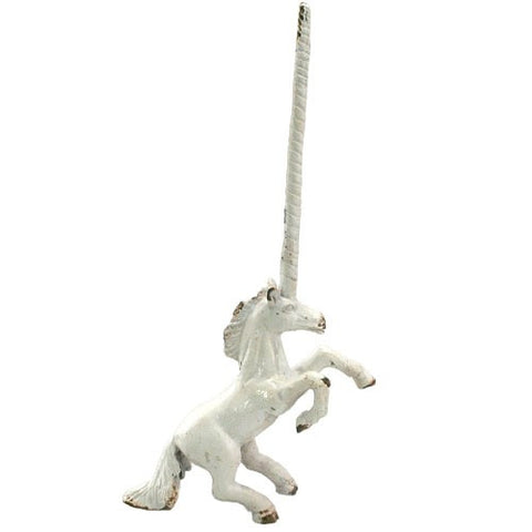 "UNICORN RING HOLDER ANTIQUE 3.5x1.125x6.75""h (White Iron)"