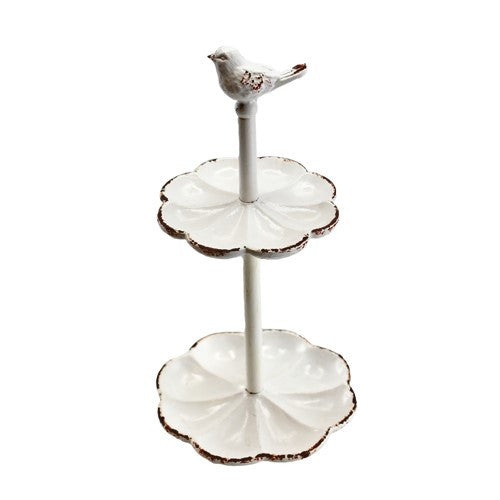 "PETITE BIRD RING TRAY STAND ANTIQUE WHITE  3.875 x 7.25""h"