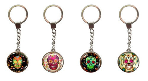 "ROSY SUGAR SKULL FLOWERS KEY RING 1.25x4""L"