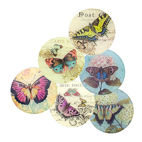 "BUTTERFLY DISH ASST DZ 3.75""Dia SET OF 6"