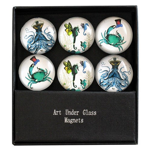 "FANTASY SEALIFE GLASS MAGNET 6PC/SET 1.375""Dia"