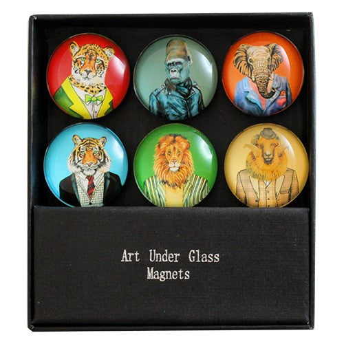 "FANTASY SAFARI GLASS MAGNET 6PC/SET 1.375""Dia"