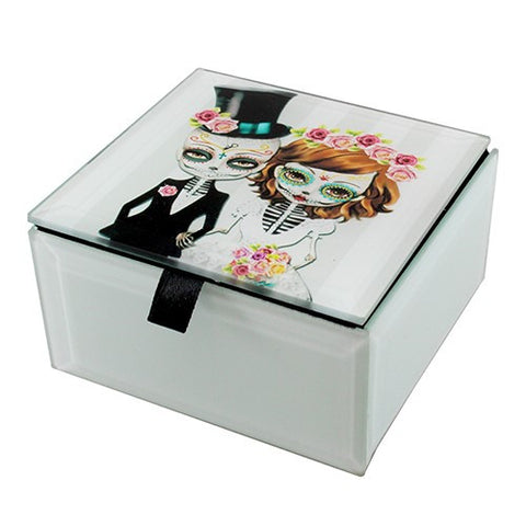 "DAY OF THE DEAL BRIDE & GROOM GLASS BOX 4x4x2.25""H"