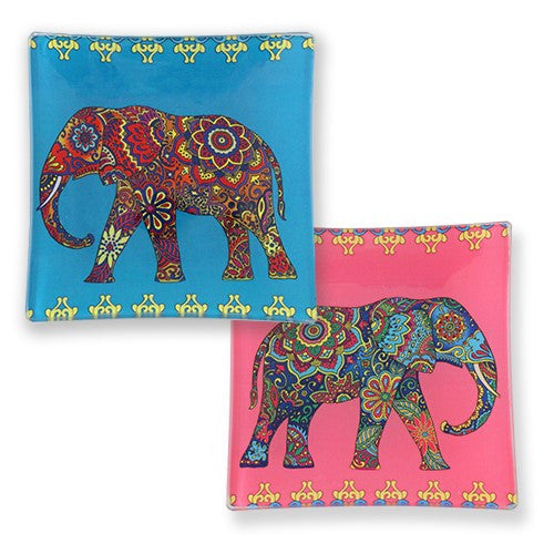 "FESTIVAL ELEPHANT TRAY GLASS 3.75""SQ"