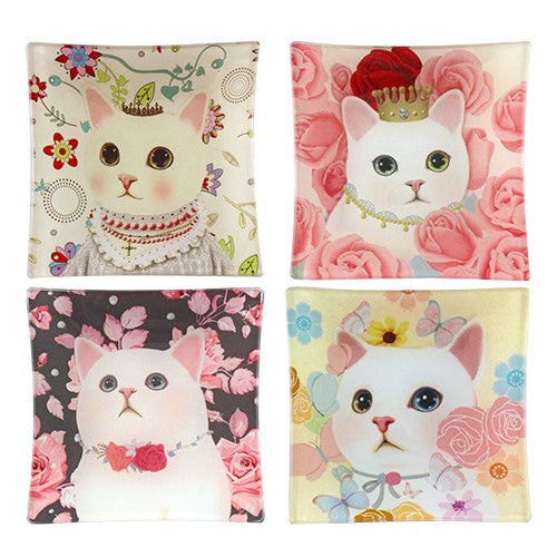 "ROSY CAT GLASS TRAY set of 4 3.75""SQ"