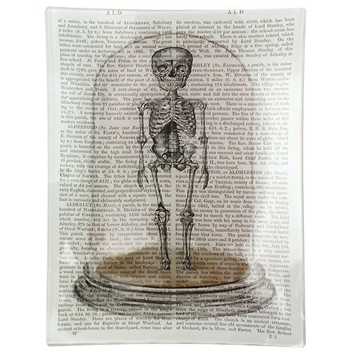"BESTIE SKELETON IN CLOCHE TRAY GLASS 5.75X7.75""L"
