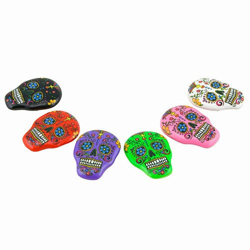 "DAY OF THE DEAD SKULL MAGNETs 6 PIECE SET 1.25x1.75""h"