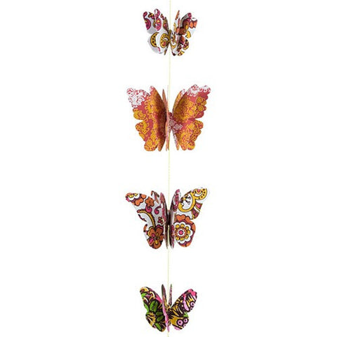 "PAPER 3D BUTTERFLY GARLAND RETRO 4.375x39""L"