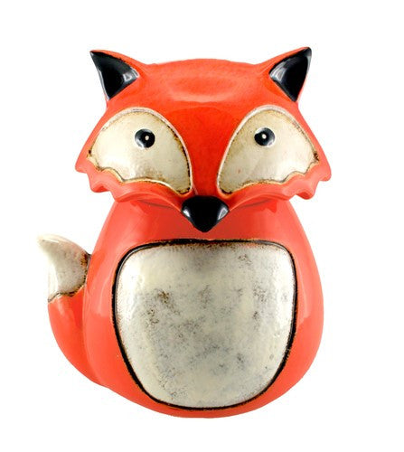 "SLY FOX COOKIE JAR ORANGE CERAMIC 9.5x7.75x10.75""h"