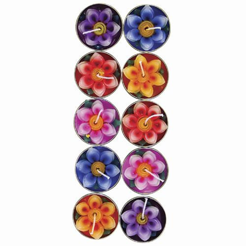 LOTUS TEALIGHTS MULTI-COLOR PACK OF 10