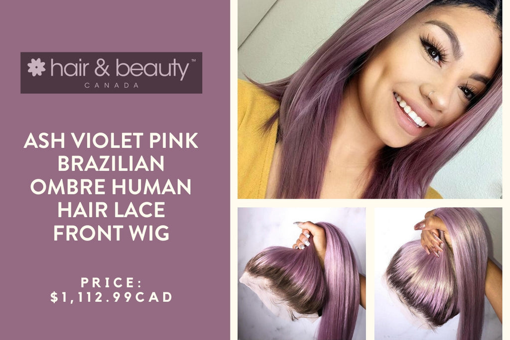 Brazilian Ombre Human Hair Lace Front Wig- Ash Violet Pink