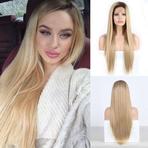 Janey Full Density Straight Hair Blonde Lace Front Wig with Dark Brown Roots