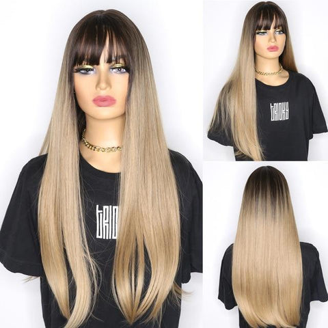Mia Long Rooted Heat Friendly wig with bangs