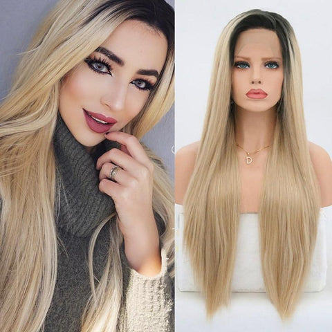 Micheline Long Ombre Blonde Silky Straight Heat Resistant Wig with Side Part