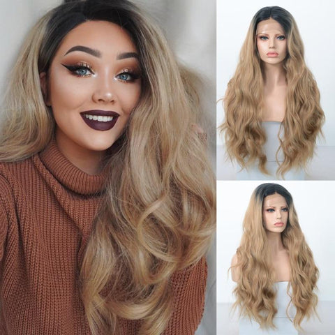 Ashlee Body Wave Synthetic Lace Front Wig Dark Roots Ombre Wig