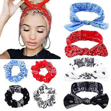 Load image into Gallery viewer, Hair Accessories Set - Paisley Printed Fashion Headband & Hair Scrunchies Accessories Set