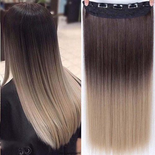 Hair Extensions - Two-Tone 24 Inch Long Straight Heat Friendly Clip In Hair Extension