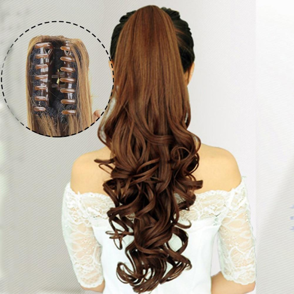 Hairpiece - Extra Long Curly Synthetic Hair Clip In Claw Ponytail Extension