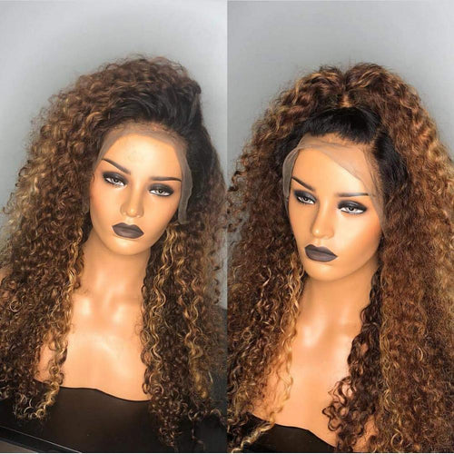 Human Hair Wig - Lizzy | Curly Brazilian Remy Hair Lace Wig Ombre