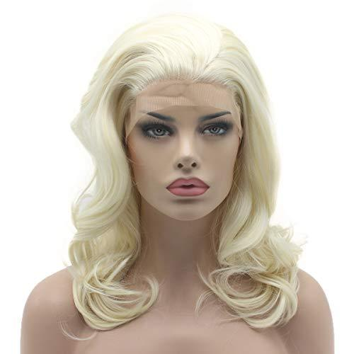 Lace Front Wig - Platinum Blonde Full Density Half Hand Tied Heat Friendly Lace Front Wig