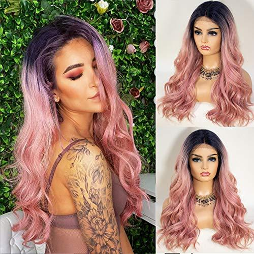 Lace Front Wig - Wavy Pink Ombre Rooted Heat Friendly Wig With T  Part Lace Front
