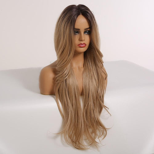 Lace Wig - Wig Style -AO 332 - Long Rooted Ombre Lace Front Synthetic Wig