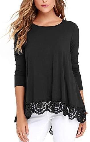Ladies Top - Ladies Pull Over Top With Lace Hem