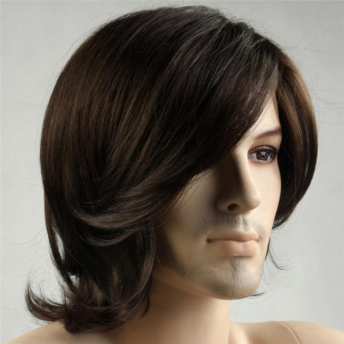 Mens Wig - Long Brown Layered Synthetic Wig For Men