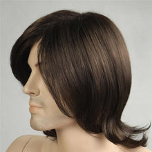 Load image into Gallery viewer, Mens Wig - Long Brown Layered Synthetic Wig For Men