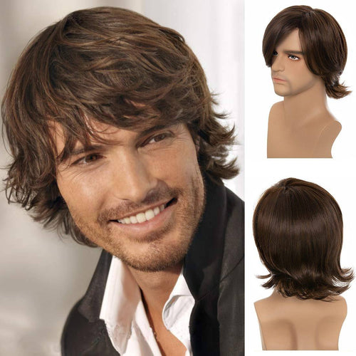 Mens Wig - Long Layered Mens Synthetic Wig With Full Bangs