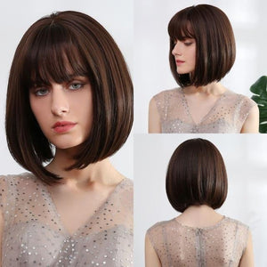 Wig - Alice Ombre Golden Blonde Bob Wigs With Side Bangs - Heat Resistant Fiber Wig