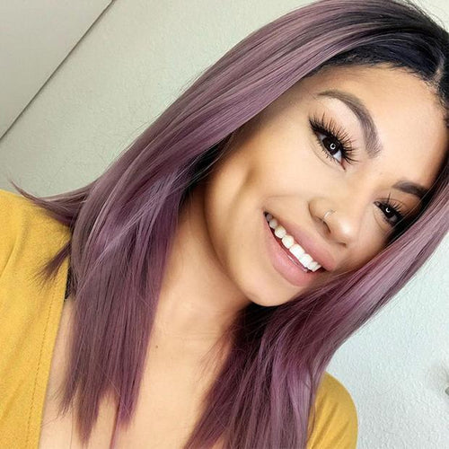 Wig - Ash Violet Pink Brazilian Ombre Human Hair Lace Front Wig