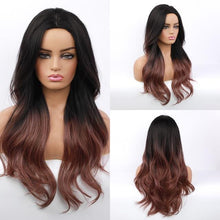 Load image into Gallery viewer, Wig - Candy Synthetic Long Natural Wave Wig-Ombre Black To Brown