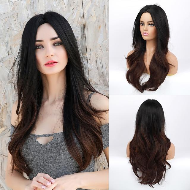 Wig - Candy Synthetic Long Natural Wave Wig-Ombre Black To Brown