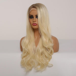 Wig - Carissa | Rooted Honey Brown To Blonde Ombre Lace Wig