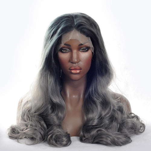Wig - Dark Grey Body Wave Synthetic Lace Front Wig