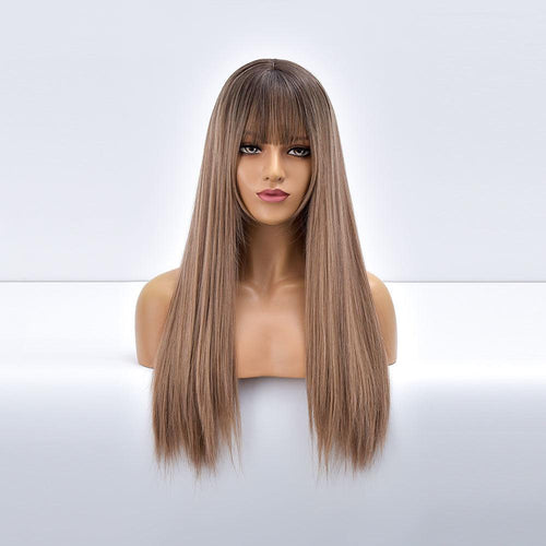 Wig - Giselle Ombre Long Straight Synthetic Wig For Women With Bangs