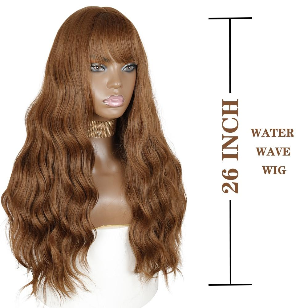 Wig - Justine Long Water Wave Synthetic Wigs With Bangs
