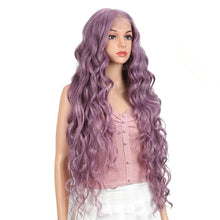 Load image into Gallery viewer, Wig - Lilac, Synthetic Lace Front Wigs Extra Long Deep Natural Wave Ombre Coloured Fashion Wig
