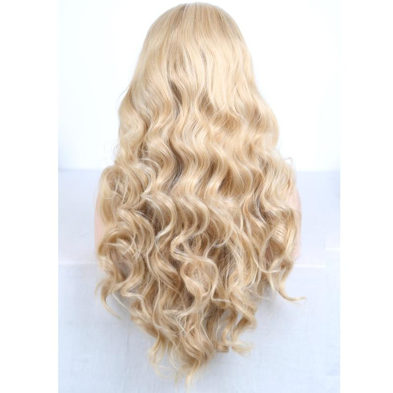 Wig - Long Body Wave Dark Roots Heat Resistant Hair Lace Front Wig